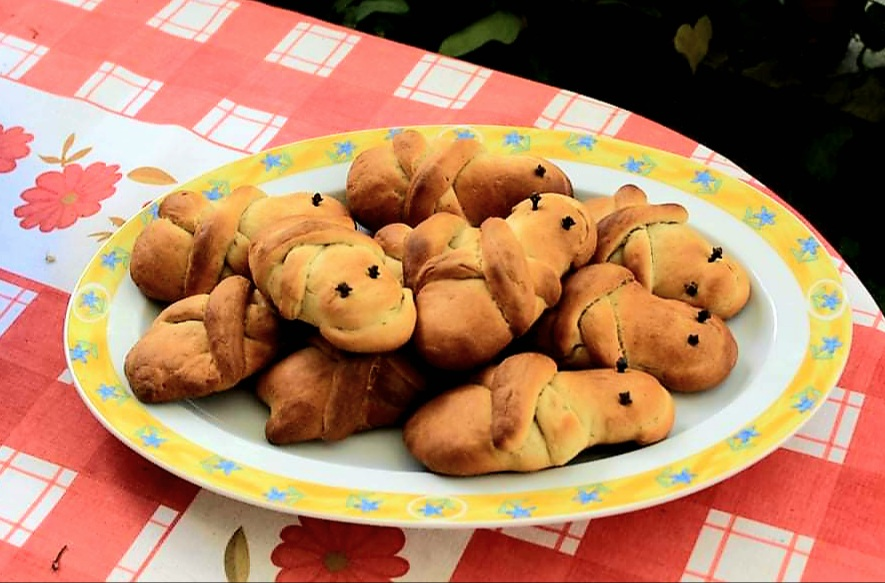Lazarakia, the traditional small breads made on the Saturday of Lazarus